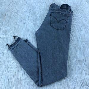 Levi's Gray Wash Released Hem 711 Skinny Jeans